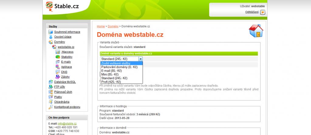 Zrušení služeb, zrušení domény webhosting Stable.cz