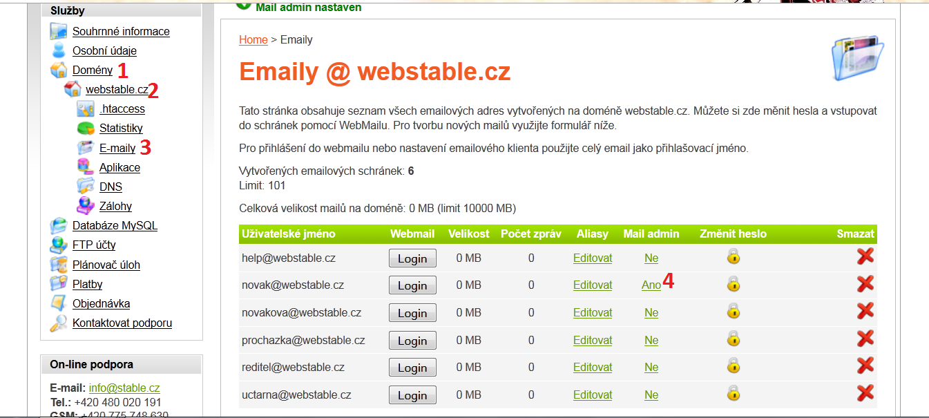 Nastavení mail administrátora ve webadmin.stable.cz