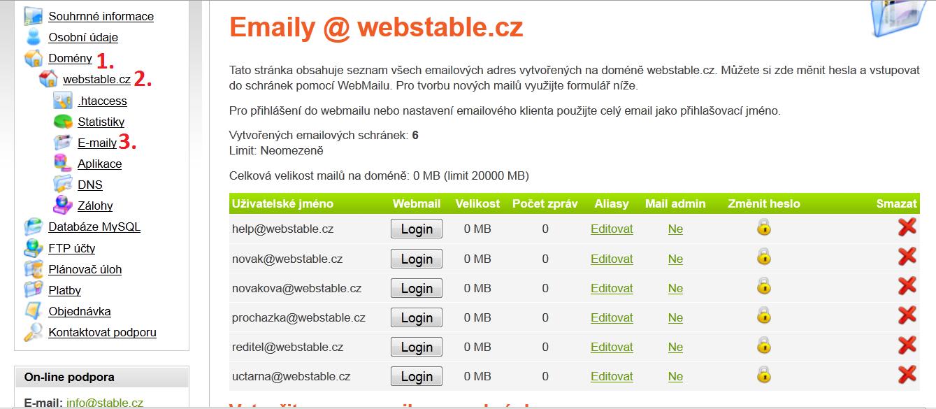 Postup jak ve webadmin.stable.cz najít administrace emailu