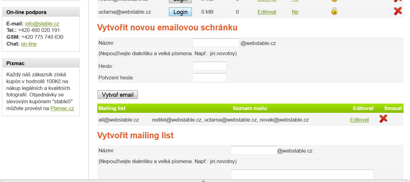 Vytvořit emailovou schránku můžete pomocí jednoduchého formuláře