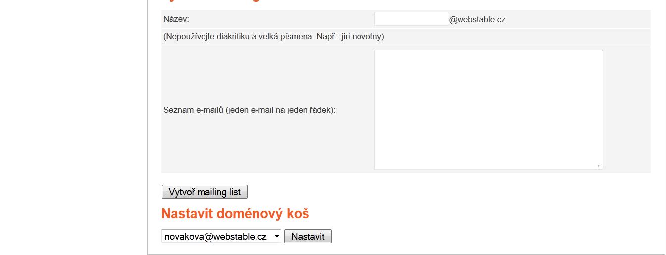 Pod mailing listy naleznete nastavení doménového koše.