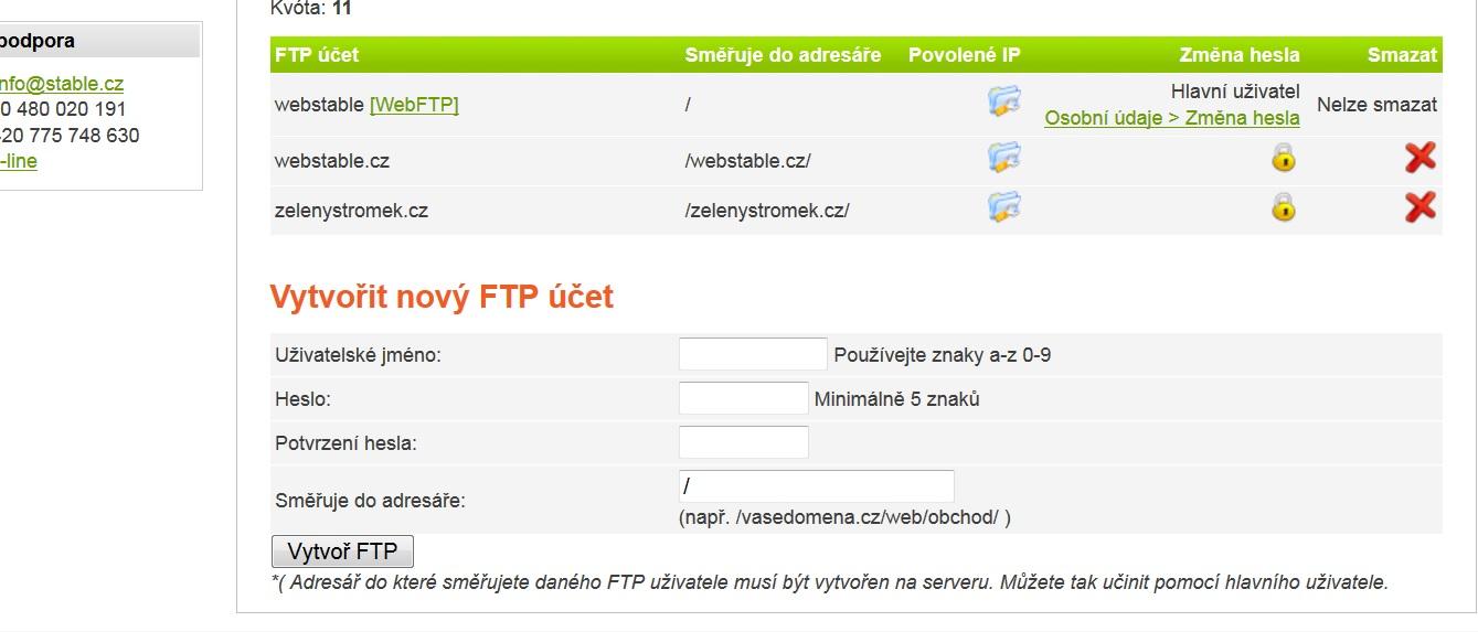 FTP formulář v administraci