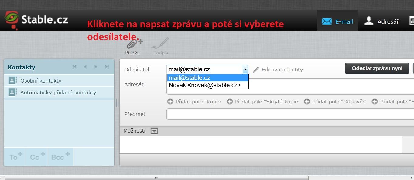 Ukázka výběru odesílatele při psaní zprývy ve webmailu