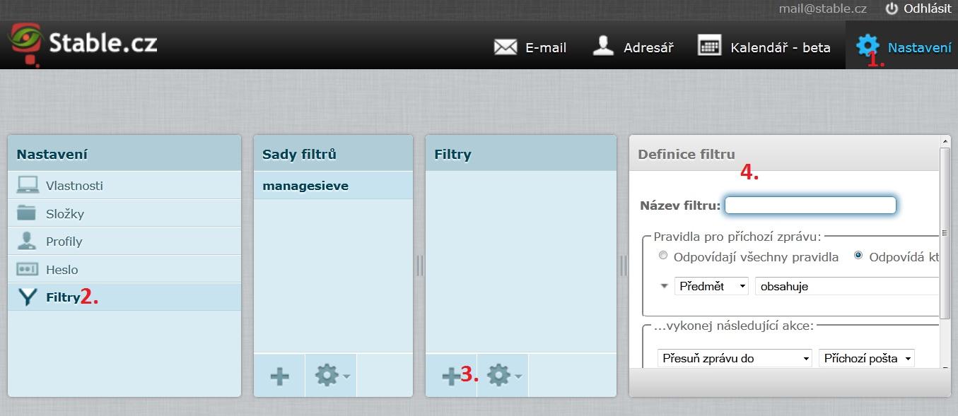 Jak najít nastavení filtrů ve webmailu