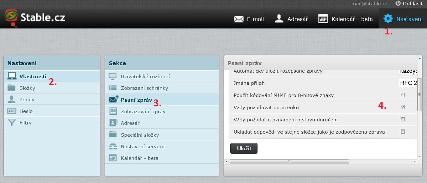 Nastavení vyžadování doručenky od adresátů pro všechny odeslané emaily přes webmail.stable.cz