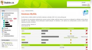 MySQL přihlášení do databáze. Webadmin.Stable.cz  - profesionální webhosting.