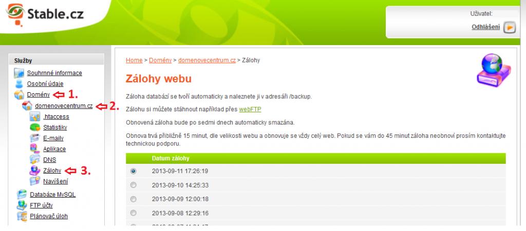 Webadmin.Stable.cz jak najít zálohu souborů - profesionální webhosting.