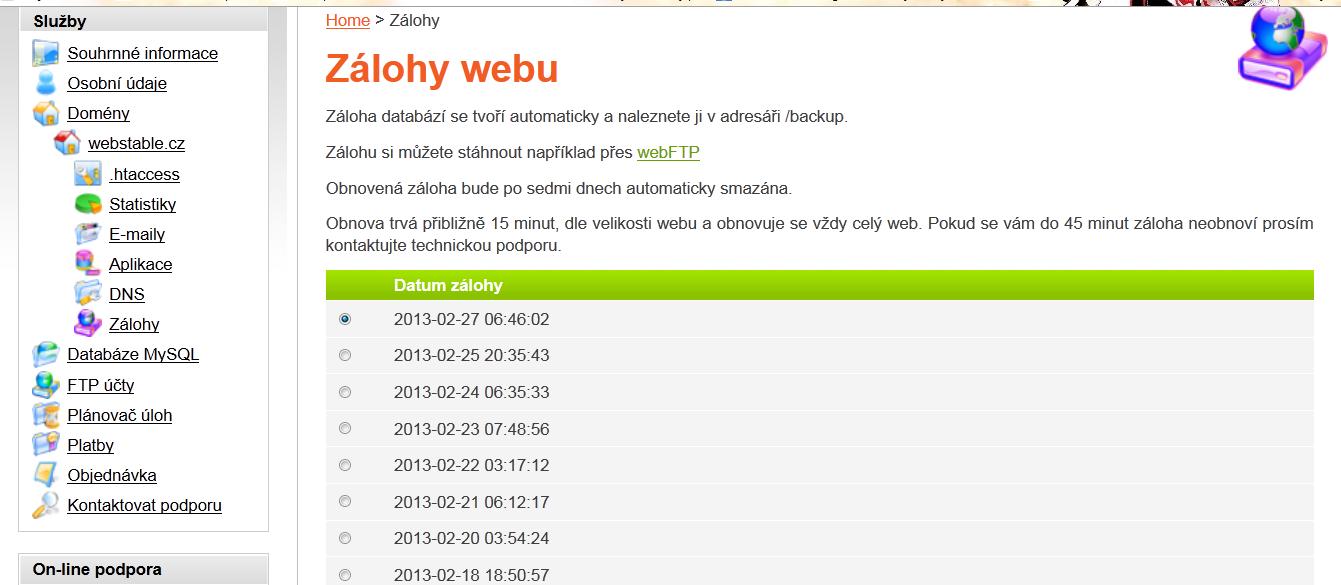 Obnova webhostingu - zálohy webu a databáze