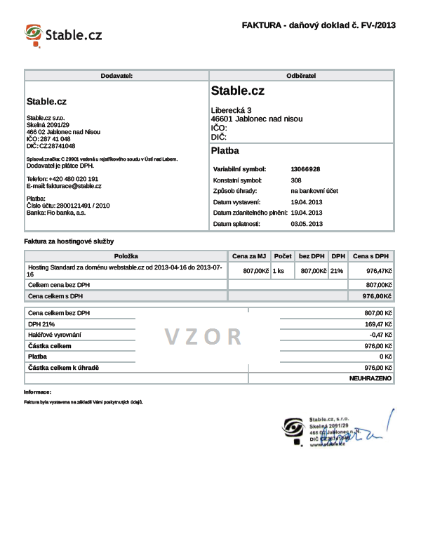 Vzor faktury za webhosting Stable.cz