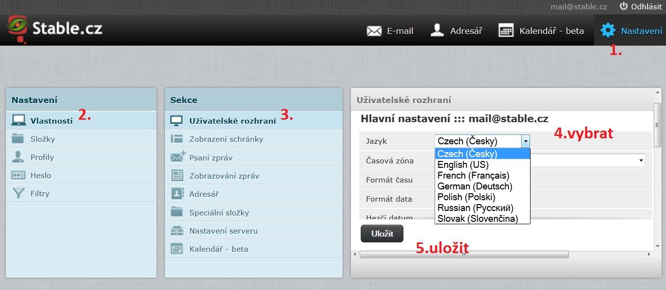 Změna jazyka webového prostředí pro psaní emailových zpráv na webmail.stable.cz.