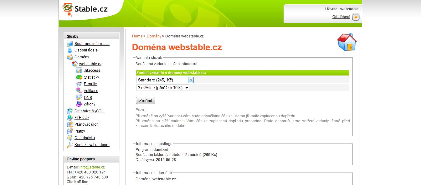 Stránka pro změnu varianty webhostingu
